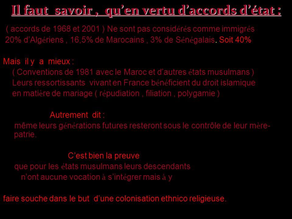 Il faut savoir, quen vertu daccords détat : ( accords de 1968 et 2001 ) Ne sont pas consid é r é s comme immigr é s 20% d Alg é riens, 16,5% de Maroca