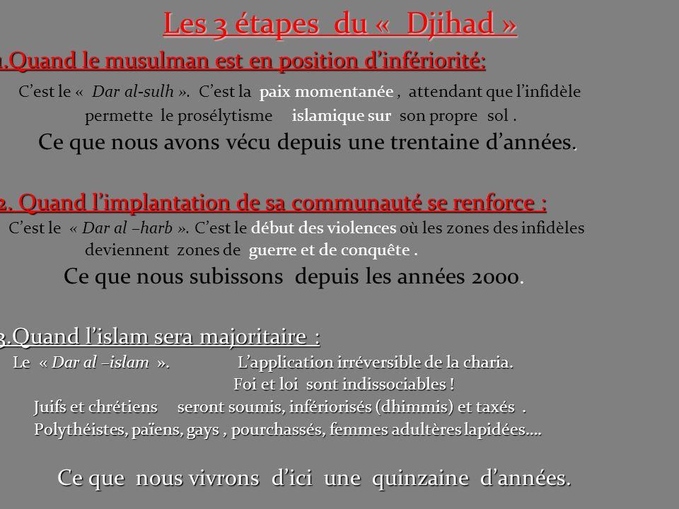 Les 3 étapes du « Djihad » 1.Quand le musulman est en position dinfériorité: Cest le « Dar al-sulh ». Cest la paix momentanée, attendant que linfidèle