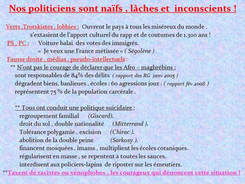 Nos politiciens sont naïfs, lâches et inconscients ! Verts,Trotskistes, lobbies : Ouvrent le pays à tous les miséreux du monde. Verts,Trotskistes, lob