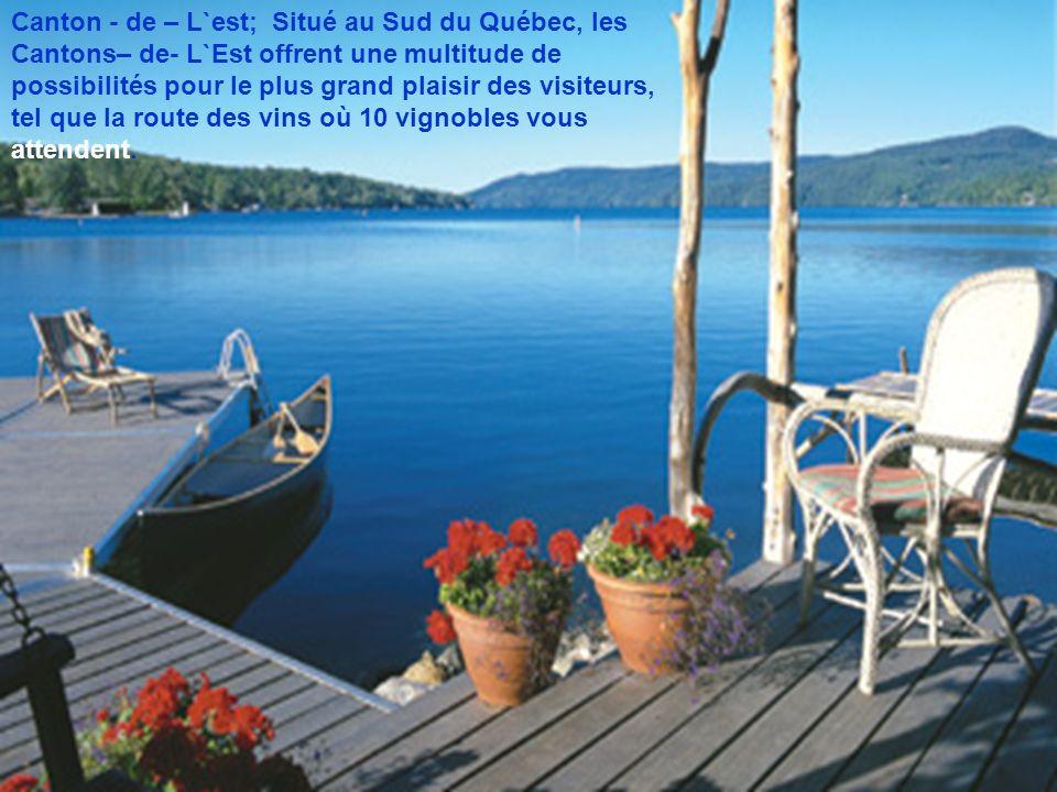 Canton - de – L`est; Situé au Sud du Québec, les Cantons– de- L`Est offrent une multitude de possibilités pour le plus grand plaisir des visiteurs, tel que la route des vins où 10 vignobles vous attendent.