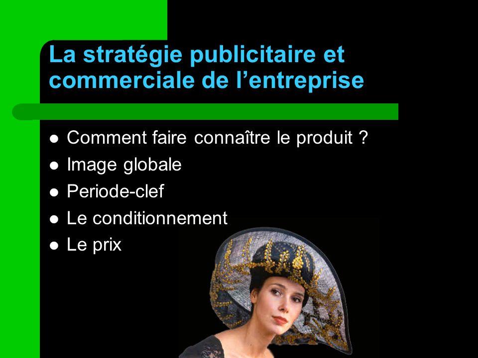 La stratégie publicitaire et commerciale de lentreprise Comment faire connaître le produit ? Image globale Periode-clef Le conditionnement Le prix