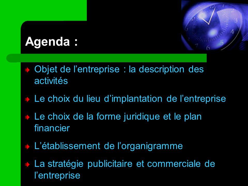 Agenda : Objet de lentreprise : la description des activités Le choix du lieu dimplantation de lentreprise Le choix de la forme juridique et le plan f