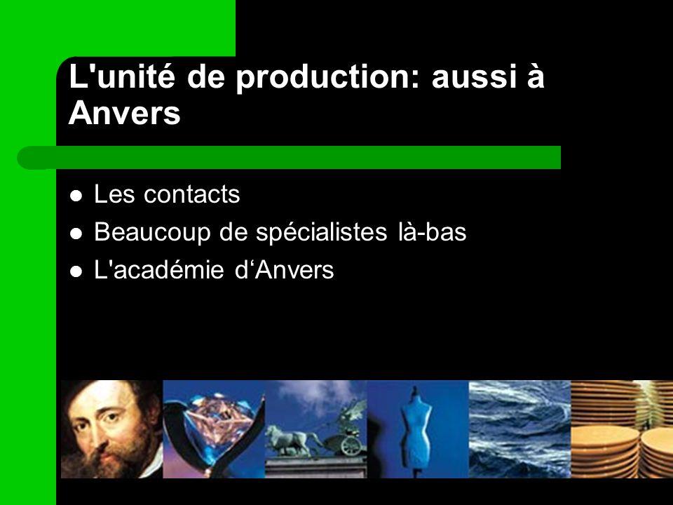 L'unité de production: aussi à Anvers Les contacts Beaucoup de spécialistes là-bas L'académie dAnvers
