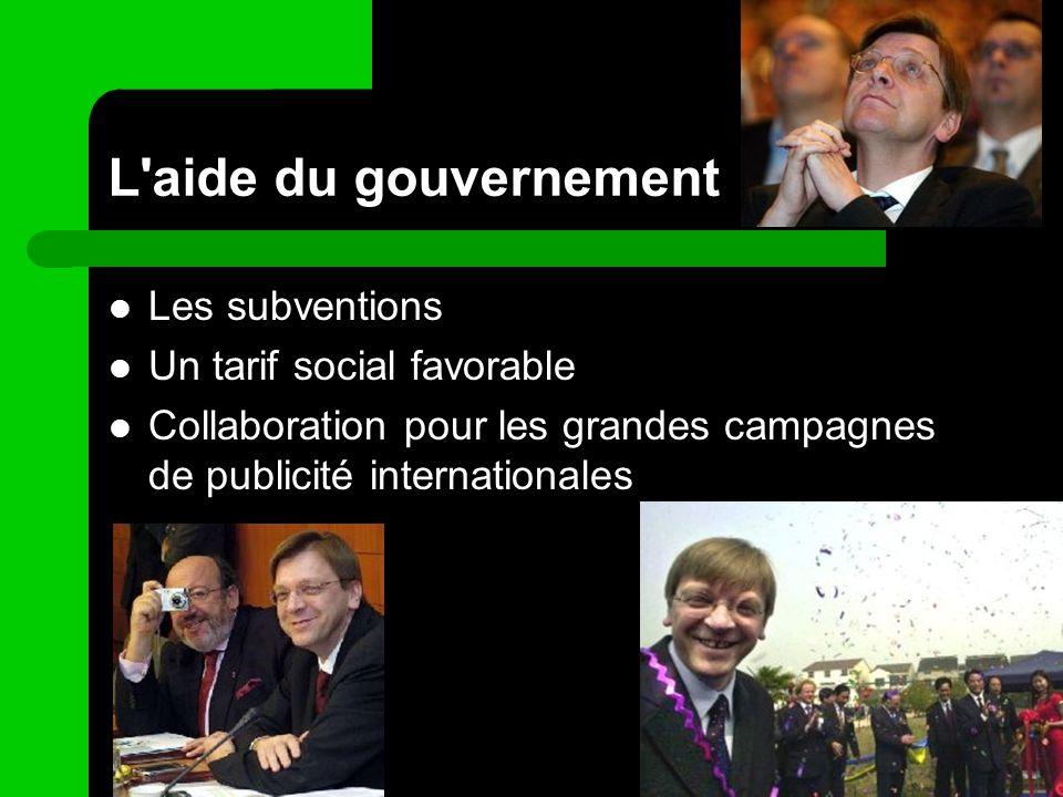 L'aide du gouvernement Les subventions Un tarif social favorable Collaboration pour les grandes campagnes de publicité internationales
