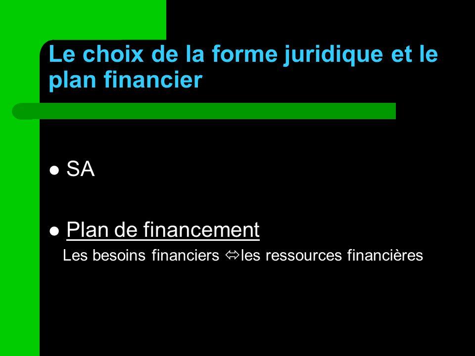 Le choix de la forme juridique et le plan financier SA Plan de financement Les besoins financiers les ressources financières