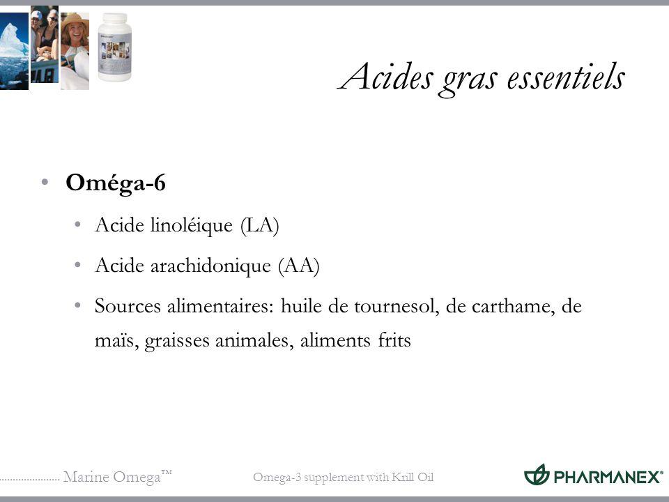 Marine Omega Omega-3 supplement with Krill Oil Acides gras essentiels Oméga-6 Acide linoléique (LA) Acide arachidonique (AA) Sources alimentaires: hui