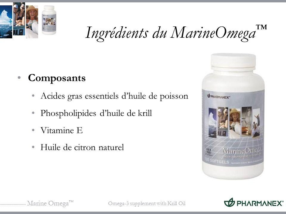 Marine Omega Omega-3 supplement with Krill Oil Ingrédients du MarineOmega Composants Acides gras essentiels dhuile de poisson Phospholipides dhuile de
