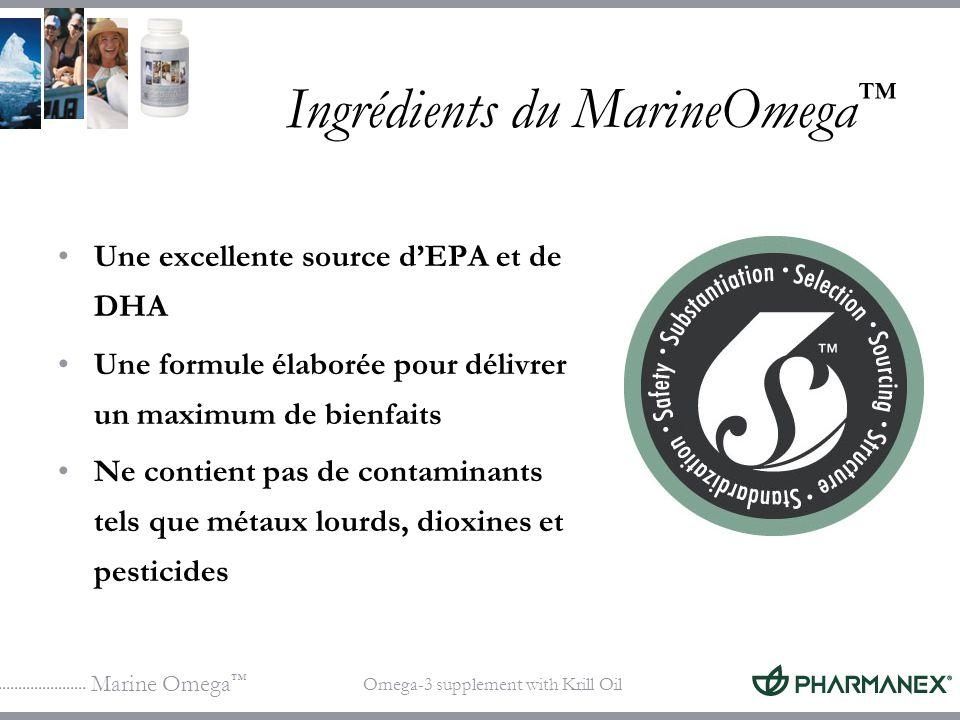Marine Omega Omega-3 supplement with Krill Oil Ingrédients du MarineOmega Une excellente source dEPA et de DHA Une formule élaborée pour délivrer un m