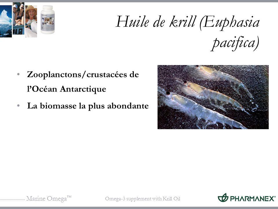 Marine Omega Omega-3 supplement with Krill Oil Huile de krill (Euphasia pacifica) Zooplanctons/crustacées de lOcéan Antarctique La biomasse la plus ab