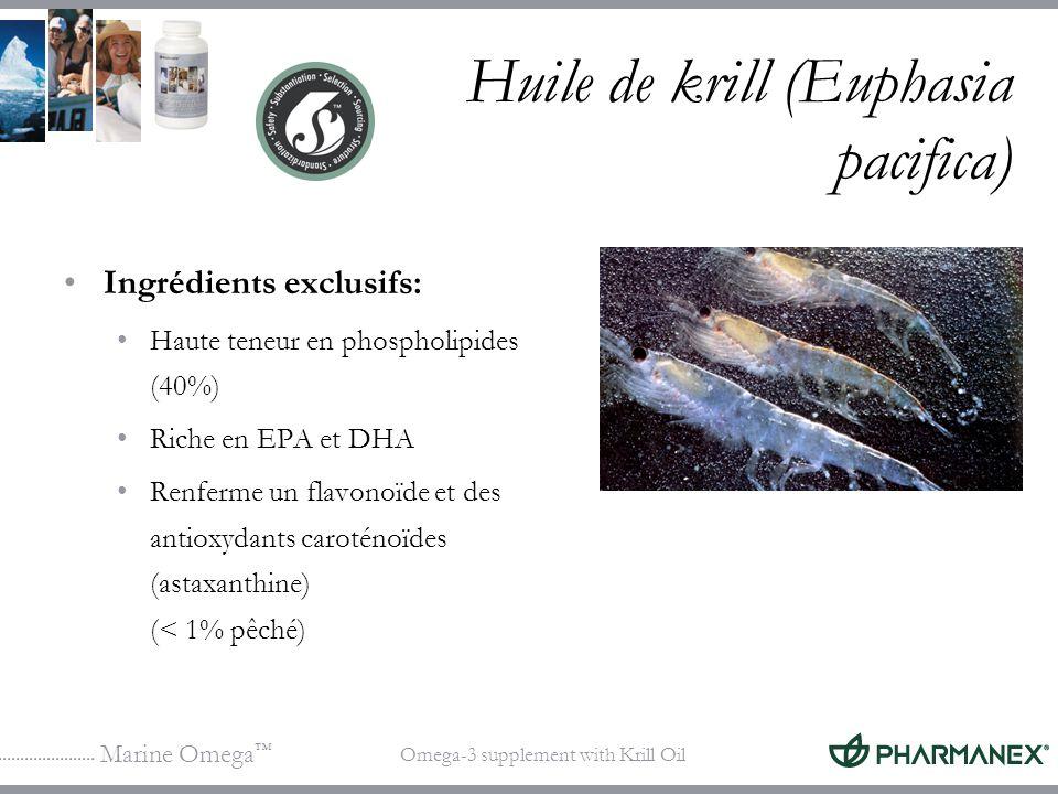 Marine Omega Omega-3 supplement with Krill Oil Huile de krill (Euphasia pacifica) Ingrédients exclusifs: Haute teneur en phospholipides (40%) Riche en