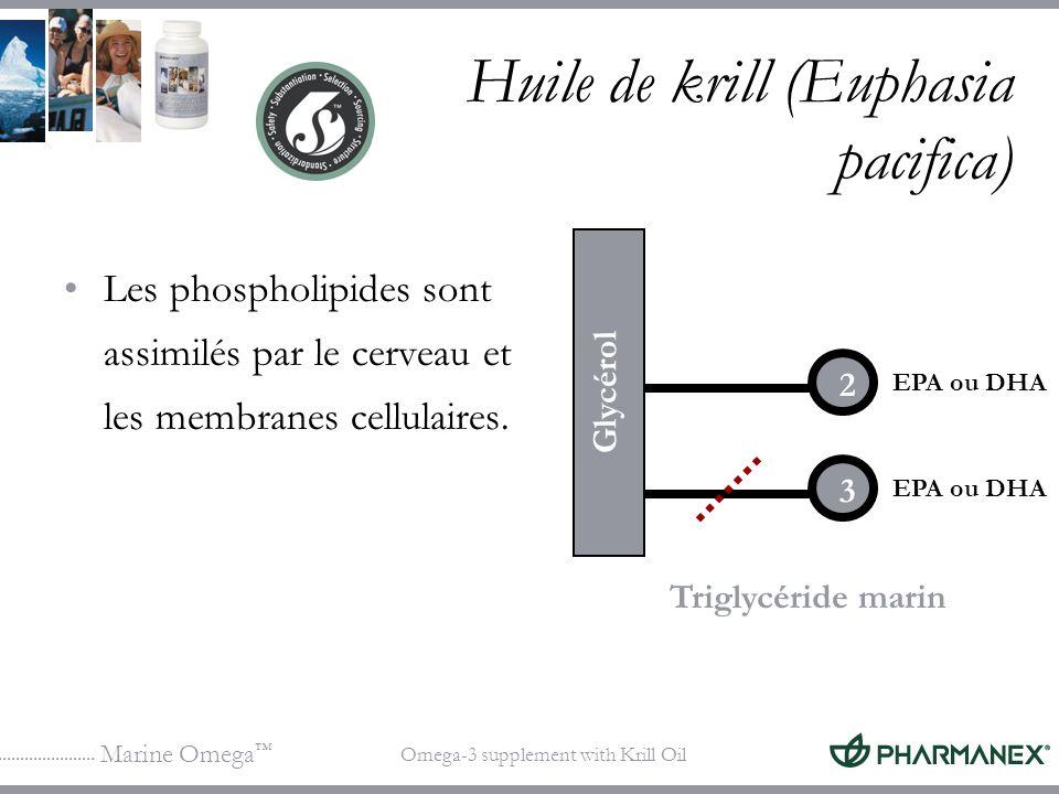 Marine Omega Omega-3 supplement with Krill Oil Huile de krill (Euphasia pacifica) Les phospholipides sont assimilés par le cerveau et les membranes ce
