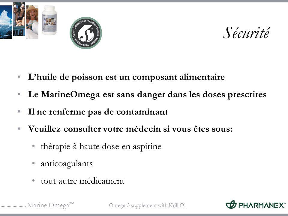 Marine Omega Omega-3 supplement with Krill Oil Sécurité Lhuile de poisson est un composant alimentaire Le MarineOmega est sans danger dans les doses p