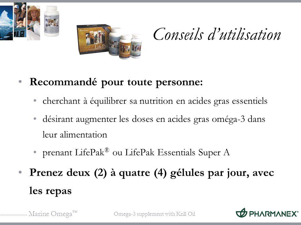 Marine Omega Omega-3 supplement with Krill Oil Conseils dutilisation Recommandé pour toute personne: cherchant à équilibrer sa nutrition en acides gra