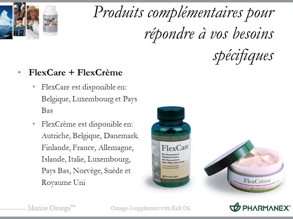 Marine Omega Omega-3 supplement with Krill Oil Produits complémentaires pour répondre à vos besoins spécifiques FlexCare + FlexCrème FlexCare est disp