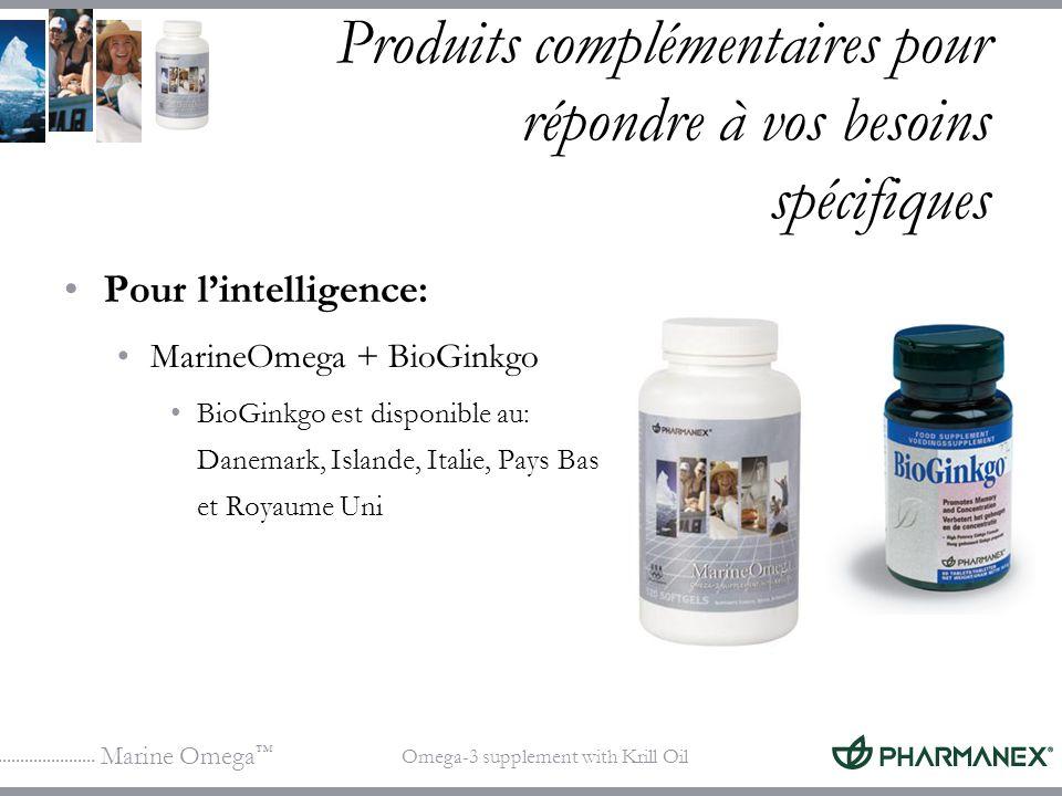 Marine Omega Omega-3 supplement with Krill Oil Produits complémentaires pour répondre à vos besoins spécifiques Pour lintelligence: MarineOmega + BioG