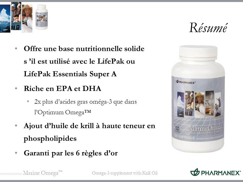 Marine Omega Omega-3 supplement with Krill Oil Résumé Offre une base nutritionnelle solide s il est utilisé avec le LifePak ou LifePak Essentials Supe
