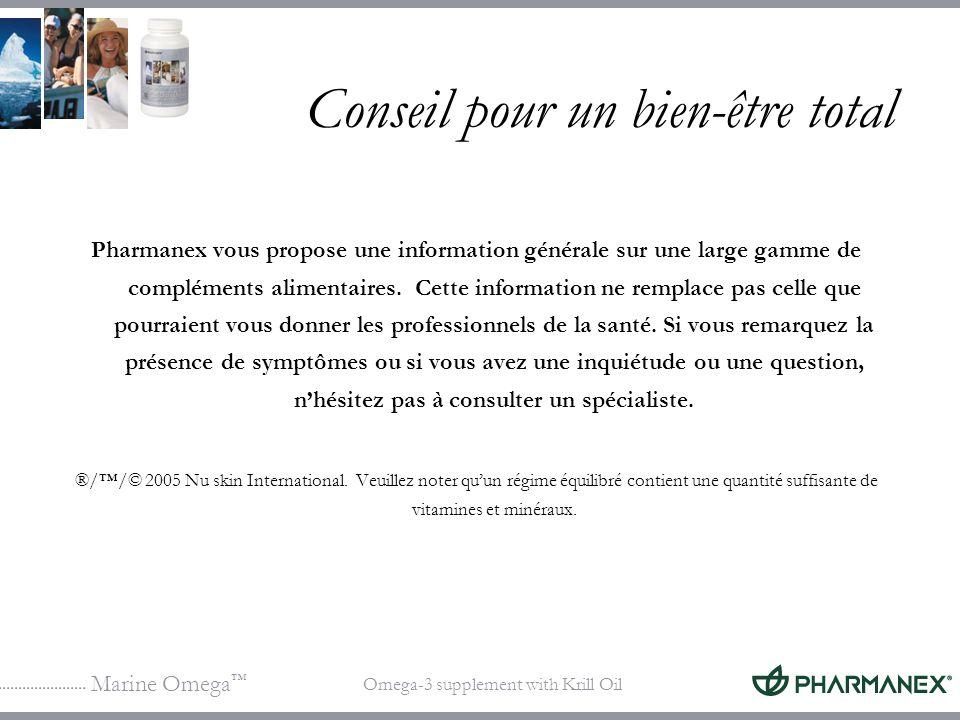 Marine Omega Omega-3 supplement with Krill Oil Conseil pour un bien-être total Pharmanex vous propose une information générale sur une large gamme de