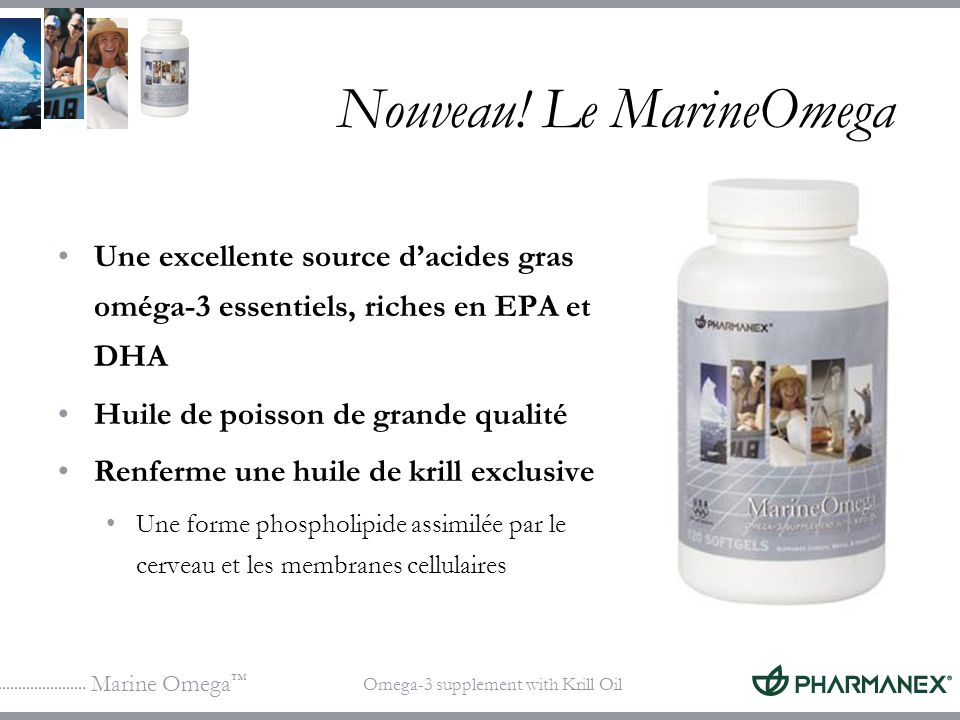 Marine Omega Omega-3 supplement with Krill Oil Huile de krill (Euphasia pacifica) DHA Phospholipide de krill Groupe phosphate Glycérol 1 2 EPA ou DHA