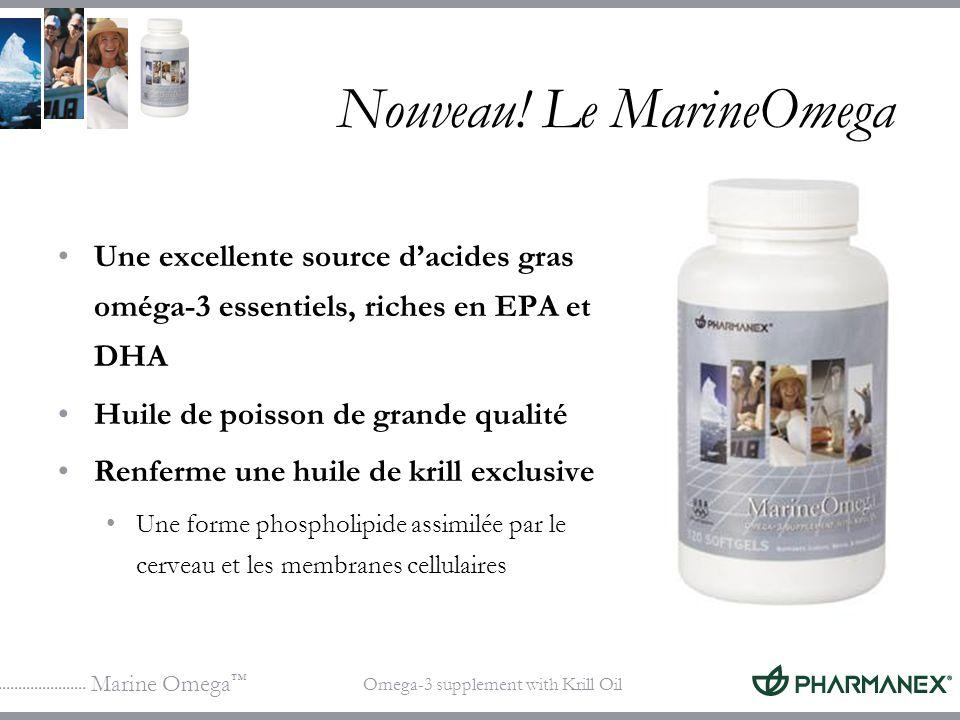 Marine Omega Omega-3 supplement with Krill Oil Nouveau! Le MarineOmega Une excellente source dacides gras oméga-3 essentiels, riches en EPA et DHA Hui