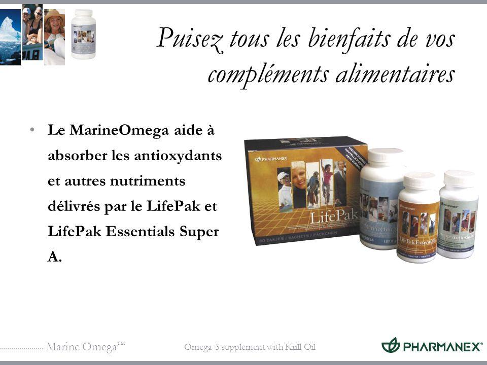 Marine Omega Omega-3 supplement with Krill Oil Puisez tous les bienfaits de vos compléments alimentaires Le MarineOmega aide à absorber les antioxydan