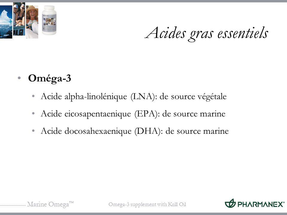 Marine Omega Omega-3 supplement with Krill Oil Acides gras essentiels Oméga-3 Acide alpha-linolénique (LNA): de source végétale Acide eicosapentaeniqu