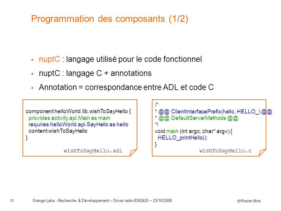 20 diffusion libre Orange Labs - Recherche & Développement – Driver radio EM2420 – 23/10/2008 Programmation des composants (1/2) nuptC : langage utilisé pour le code fonctionnel nuptC : langage C + annotations Annotation = correspondance entre ADL et code C /* * @@ ClientInterfacePrefix(hello, HELLO_) @@ * @@ DefaultServerMethods @@ */ void main (int argc, char* argv) { HELLO_printHello(); } wishToSayHello.c component helloWorld.lib.wishToSayHello { provides activity.api.Main as main requires helloWorld.api.SayHello as hello content wishToSayHello } wishToSayHello.adl