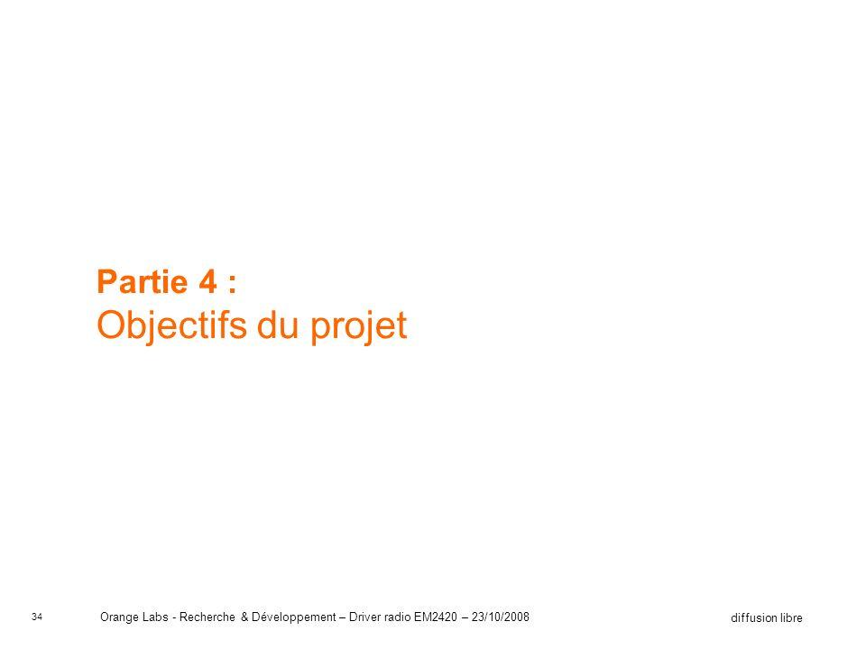 34 diffusion libre Orange Labs - Recherche & Développement – Driver radio EM2420 – 23/10/2008 Partie 4 : Objectifs du projet