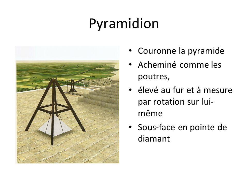 Pyramidion Couronne la pyramide Acheminé comme les poutres, élevé au fur et à mesure par rotation sur lui- même Sous-face en pointe de diamant