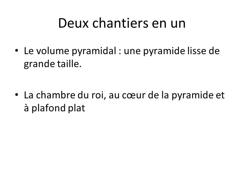 Deux chantiers en un Le volume pyramidal : une pyramide lisse de grande taille.