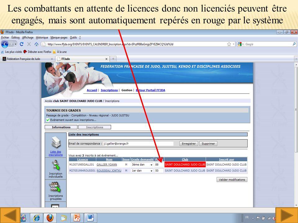 Les combattants en attente de licences donc non licenciés peuvent être engagés, mais sont automatiquement repérés en rouge par le système 14