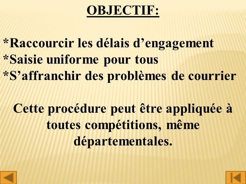 OBJECTIF: *Raccourcir les délais dengagement *Saisie uniforme pour tous *Saffranchir des problèmes de courrier Cette procédure peut être appliquée à toutes compétitions, même départementales.