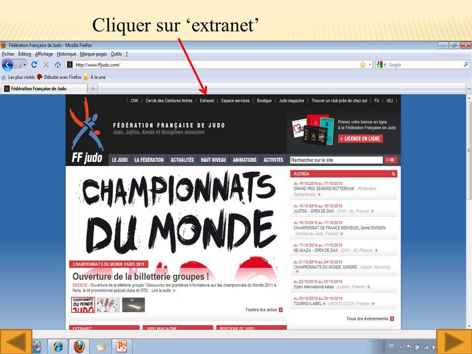 Cliquer sur extranet 2