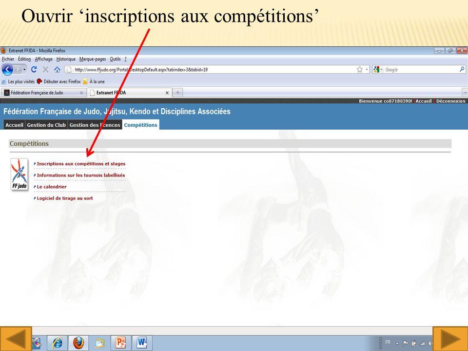 Ouvrir inscriptions aux compétitions 5