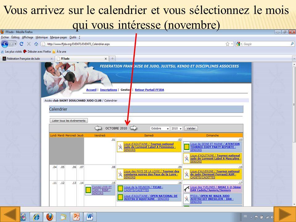 Vous arrivez sur le calendrier et vous sélectionnez le mois qui vous intéresse (novembre) 6