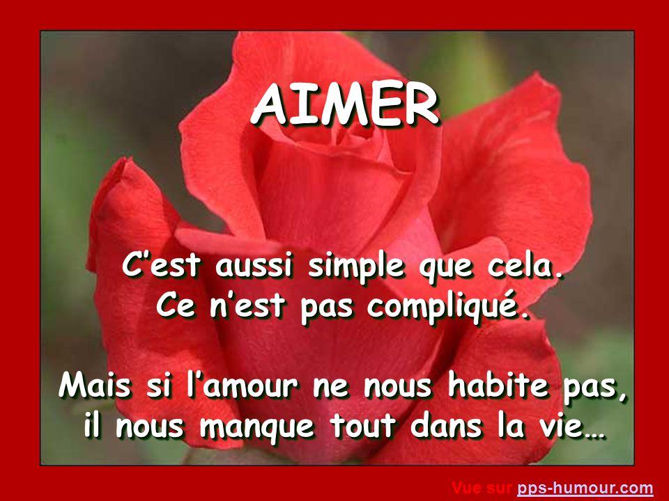 AIMER… Cest de ne pas juger, de ne pas critiquer, de ne pas condamner. Cest être capable de dire : «Si javais été à ta place, je naurais pas fait mieu