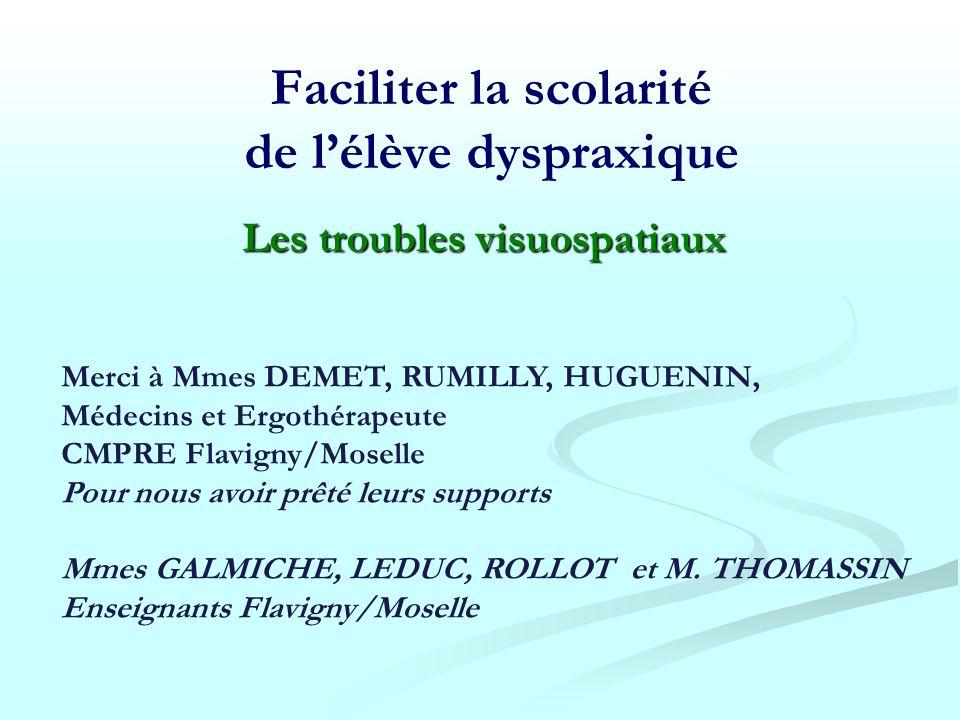 Merci à Mmes DEMET, RUMILLY, HUGUENIN, Médecins et Ergothérapeute CMPRE Flavigny/Moselle Pour nous avoir prêté leurs supports Mmes GALMICHE, LEDUC, RO