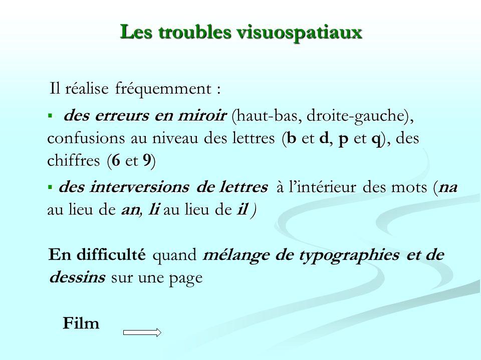 Il réalise fréquemment : des erreurs en miroir (haut-bas, droite-gauche), confusions au niveau des lettres (b et d, p et q), des chiffres (6 et 9) des