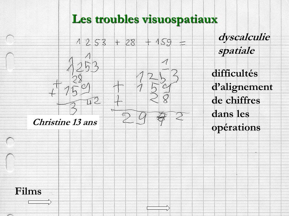 Christine 13 ans Les troubles visuospatiaux difficultés dalignement de chiffres dans les opérations dyscalculie spatiale Films