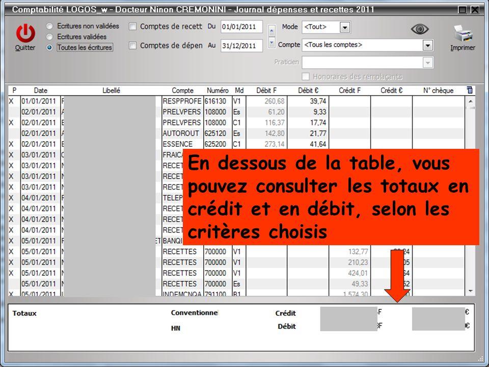 En dessous de la table, vous pouvez consulter les totaux en crédit et en débit, selon les critères choisis