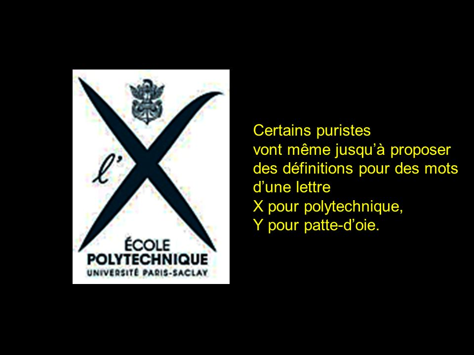 2 Certains puristes vont même jusquà proposer des définitions pour des mots dune lettre X pour polytechnique, Y pour patte-doie.