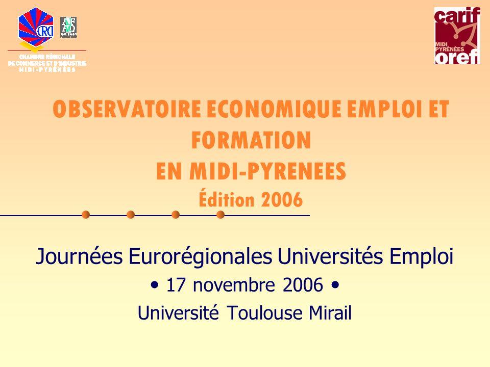OBSERVATOIRE ECONOMIQUE EMPLOI ET FORMATION EN MIDI-PYRENEES Édition 2006 Journées Eurorégionales Universités Emploi 17 novembre 2006 Université Toulouse Mirail
