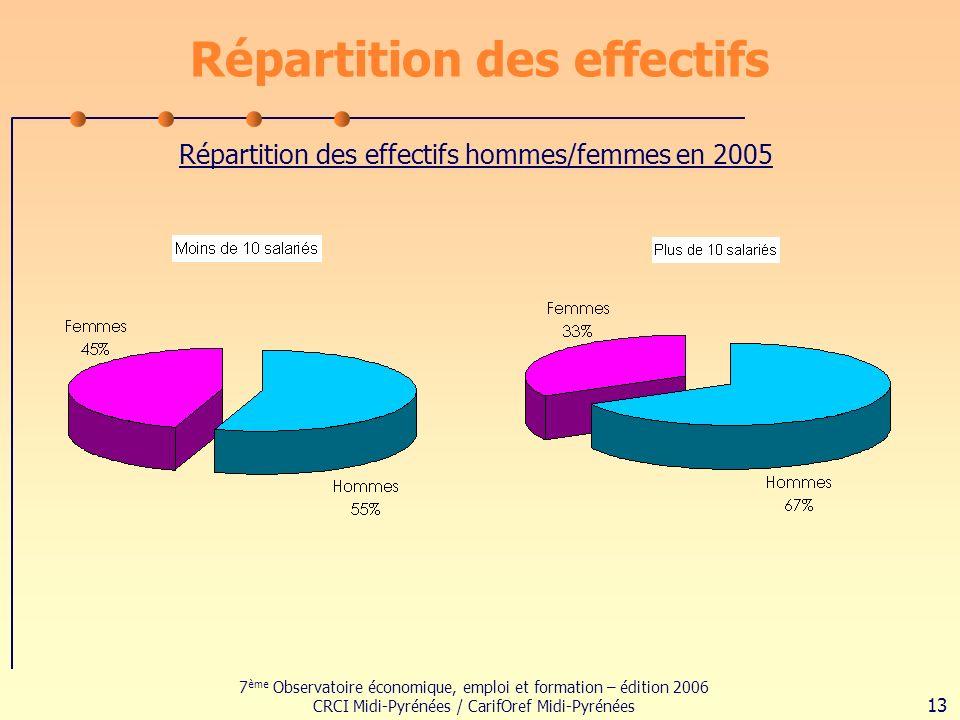 7 ème Observatoire économique, emploi et formation – édition 2006 CRCI Midi-Pyrénées / CarifOref Midi-Pyrénées 13 Répartition des effectifs Répartition des effectifs hommes/femmes en 2005
