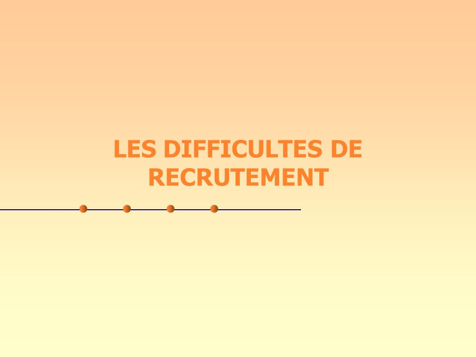 LES DIFFICULTES DE RECRUTEMENT