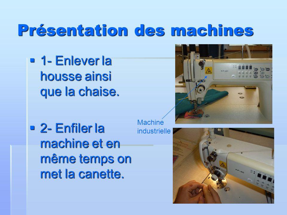 Présentation des machines 1- Enlever la housse ainsi que la chaise. 1- Enlever la housse ainsi que la chaise. 2- Enfiler la machine et en même temps o
