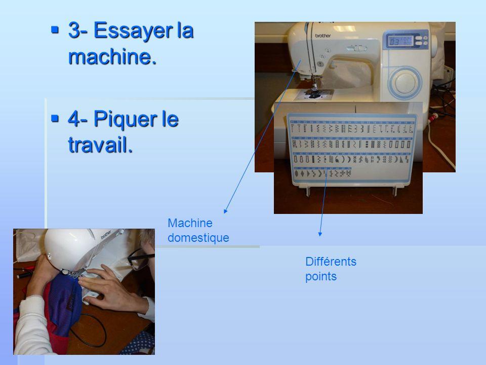 3- Essayer la machine. 3- Essayer la machine. 4- Piquer le travail. 4- Piquer le travail. Machine domestique Différents points