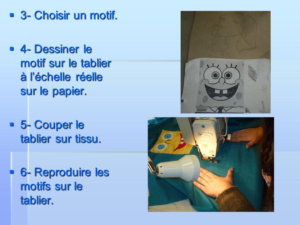 3- Choisir un motif. 3- Choisir un motif. 4- Dessiner le motif sur le tablier à léchelle réelle sur le papier. 4- Dessiner le motif sur le tablier à l