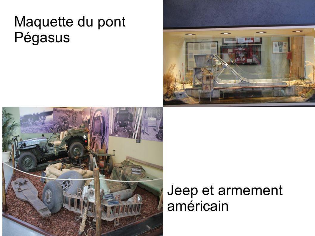 Maquette du pont Pégasus Jeep et armement américain