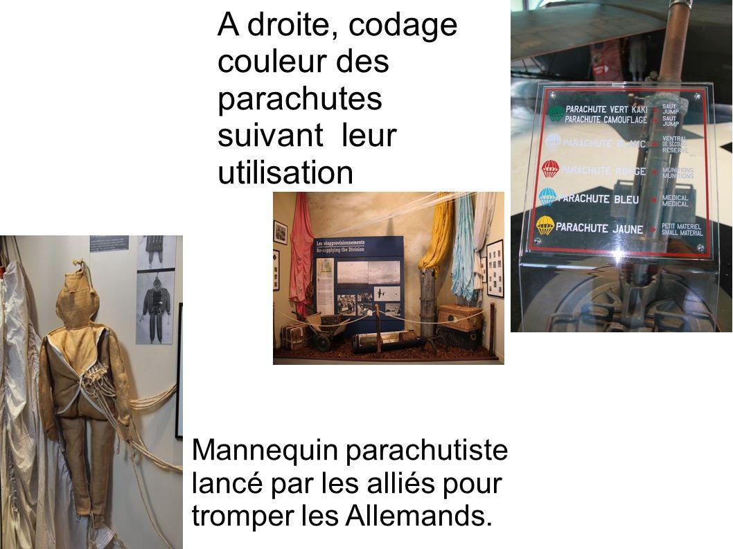 A droite, codage couleur des parachutes suivant leur utilisation Mannequin parachutiste lancé par les alliés pour tromper les Allemands.