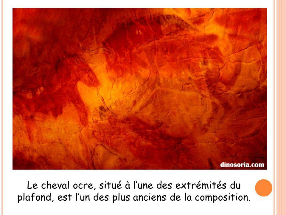 Le cheval ocre, situé à lune des extrémités du plafond, est lun des plus anciens de la composition.