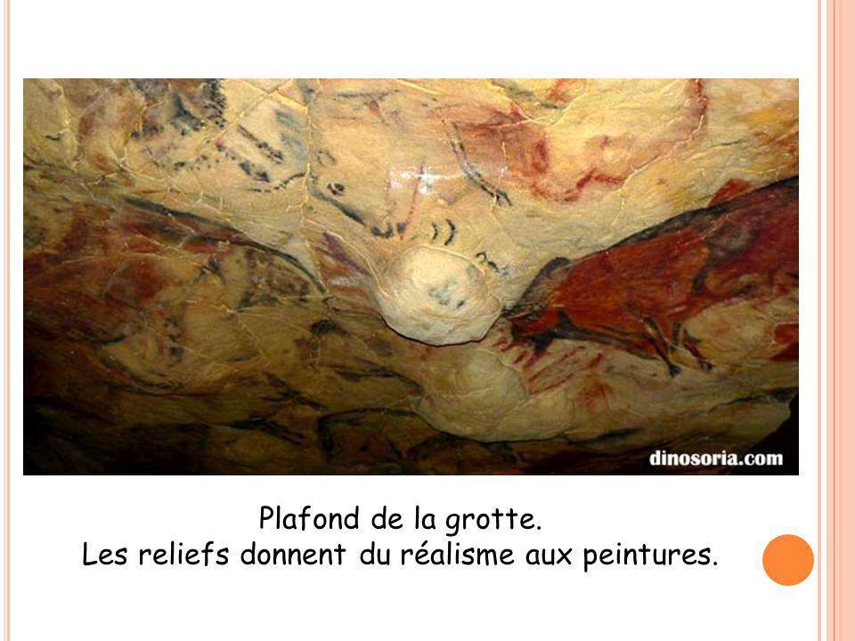 Plafond de la grotte. Les reliefs donnent du réalisme aux peintures.